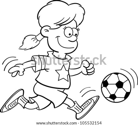 Black and white illustration of a girl playing soccer - stock vector