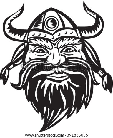 Black and white illustration of a head of a norseman viking warrior raider barbarian wearing horned