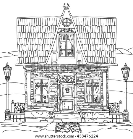 Black And White Illustration Of A House With Details For Adult Coloring Book Or Zen