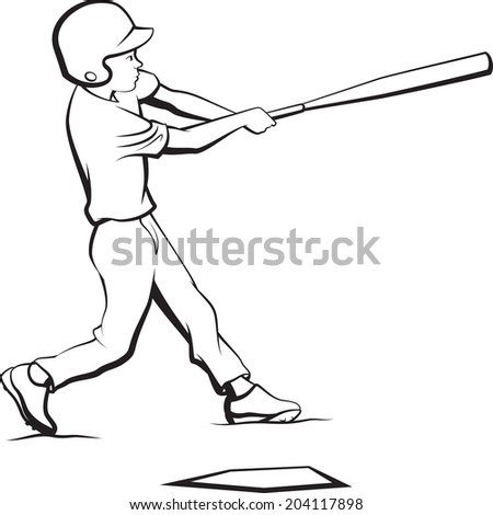 Black and white illustration of a little league boy swinging for a hit at home plate.
