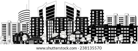 Black and white illustration of a modern city - stock vector