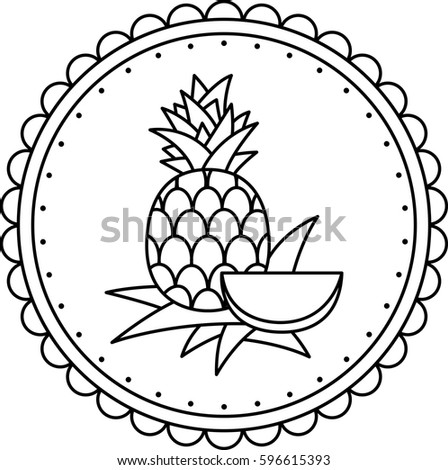 black white illustration pineapple coloring page stock vector