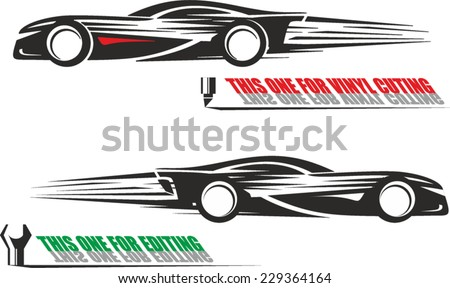 Black and white illustration of a racing car side view ready for vinyl cutting - stock vector
