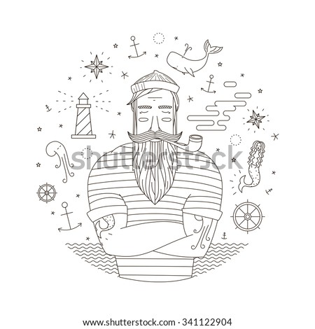 Black and white illustration of a sailor in the style of an old tattoo. Print seaman with a pipe. Anchor illustrations, mermaid with lighthouse - stock vector