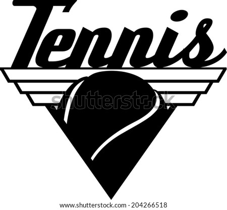 Black and white illustration of a triangle shield with a tennis ball and the word tennis on top.