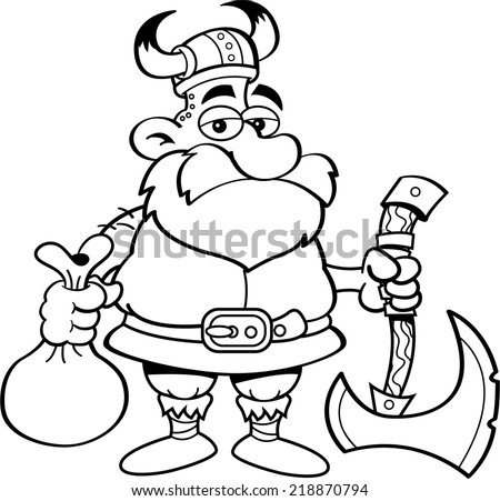 Black and white illustration of a Viking holding an axe and a sack. - stock vector