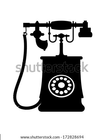 Black and white illustration of a vintage rotary dial telephone with transmitter and receiver, isolated on white background - stock vector