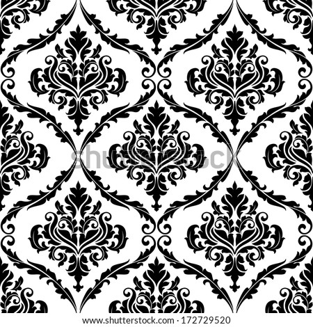 Black and white illustration of am ornate floral arabesque decorative seamless pattern with each motif in a foliate frame suitable for textiles and damask style fabric - stock vector