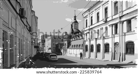 black and white illustration of city scape. Moskow - stock vector
