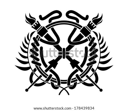 Black and white illustration of crossed flaming torches over a laurel wreath logo surrounding a circle - stock vector