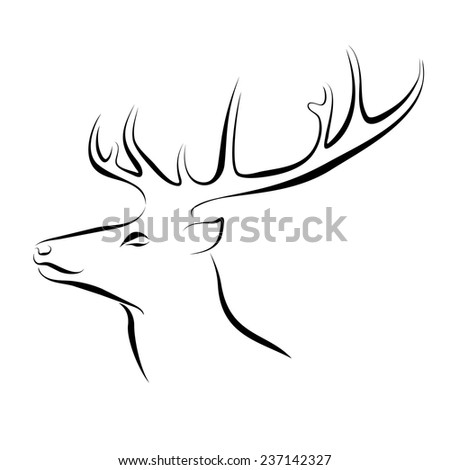 Black and white illustration of deer head with horns. Hand drawn sketch. Ink painting. Design element useful for logo. Vector file is EPS8.