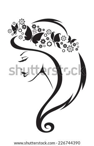 Black and white illustration of elegant woman.  - stock vector