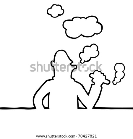 Black and white illustration of person smoking a thick cigar. - stock vector