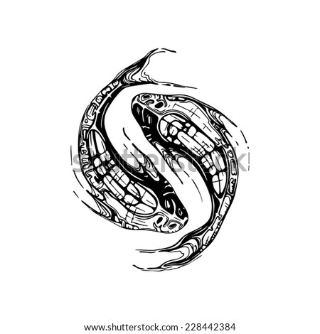 Black and white illustration of pisces dark style. Can be used as a tattoo or sign, or symbol associated with yin and yang - stock vector