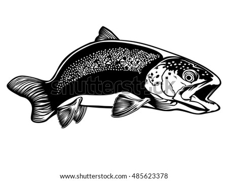 Black and white illustration of wild trout. Vector illustration can be used for web design, cards, logos and other design.