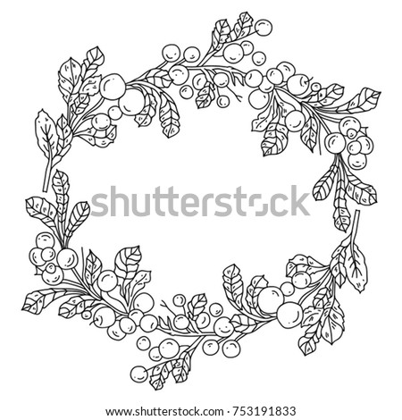 Black And White Illustration With Winter Christmas Wreath Coloring Page For Children Adults