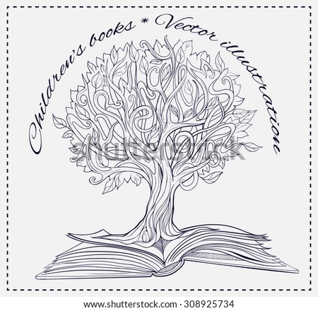 Black and white image of knowledge tree growing out of a  book