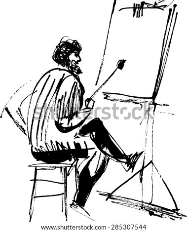 Black and white image of the artist's easel  - stock vector