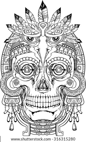 black and white indian skull with jewelry, vector - stock vector