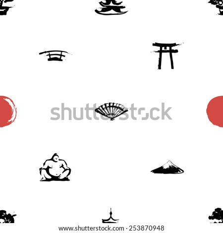 Black and white ink hand drawn brushstroke fan, sword, sumo, pagoda, sun, torii, bonsai, Fuji. Set of isolated japanese national symbols and elements. Chess grid order pattern. - stock vector