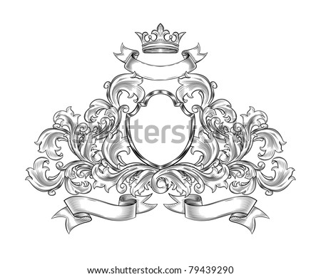 black and white  insignia isolated - stock vector