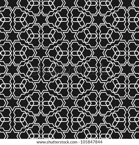 Black and white islamic pattern - stock vector