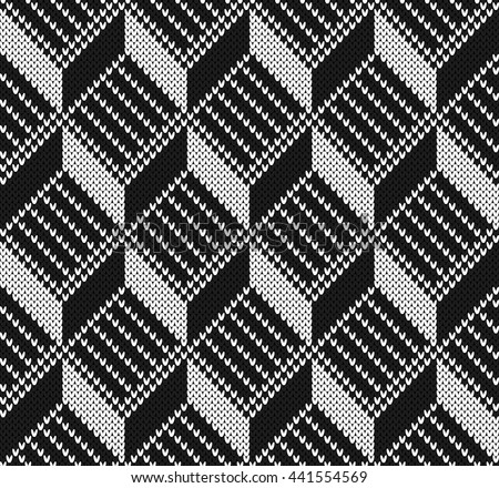 Black and white jacquard design seamless knitting pattern