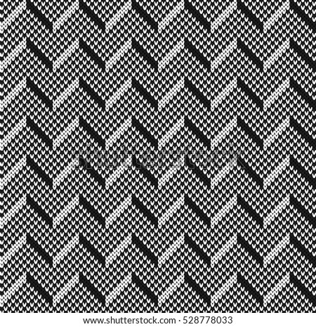 Black and white jacquard fairisle seamless knitting pattern