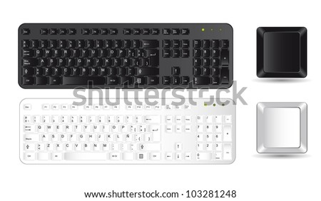 black and white keyboard and buttons over white background. vector - stock vector
