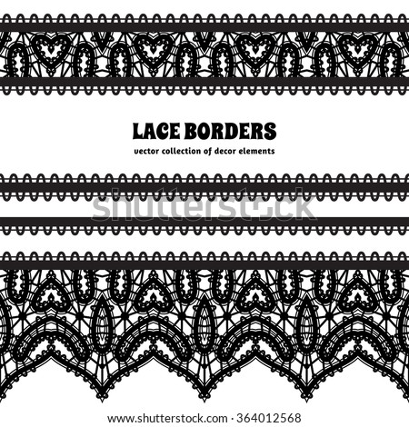 Black and white lace background, ornamental vector frame with lacy borders, set of lace ribbons on white