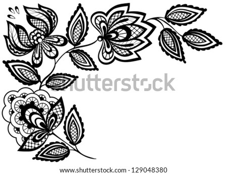 Black and white lace flowers and leaves isolated on white. Many similarities to the author's profile - stock vector