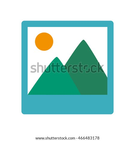 Black and white landscape picture with mountains and sun on it, vector illustration.
