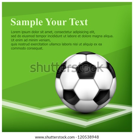 Black and white leather football (soccer) ball on corner of field and text, vector illustration - stock vector