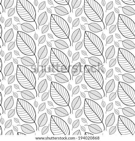 Black and white leaves seamless pattern in vector. Foliage endless background