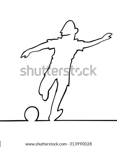 Black and white line art illustration of a soccer player kicking a ball.