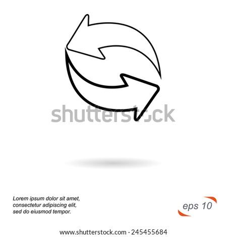 Black and white line vector icon. Arrows - stock vector