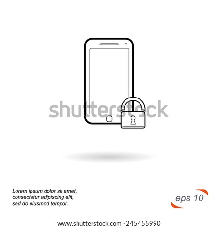 Black and white line vector icon. Phone security - stock vector