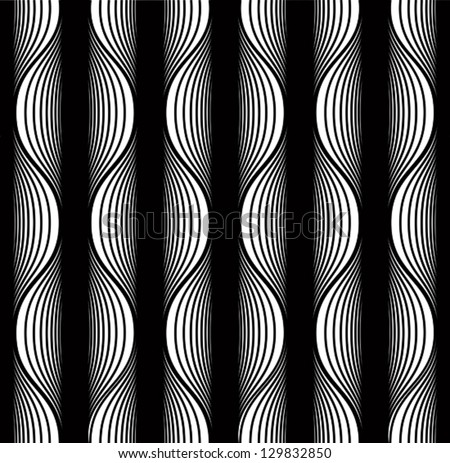 Black and white lines seamless pattern, vector background. - stock vector