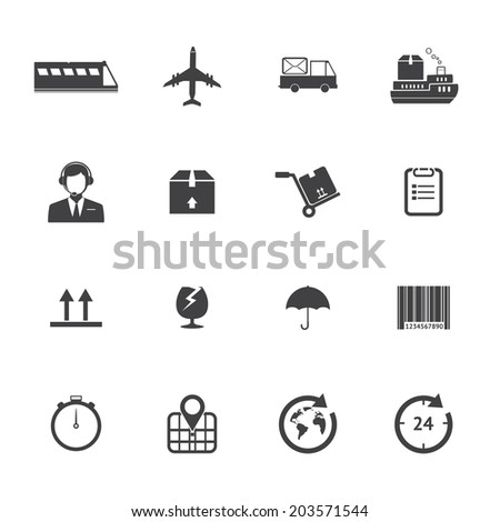 Black and White Logistics icons - stock vector