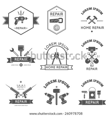 Black and white logo label tools for repair and home improvement in bw color vector illustration - stock vector