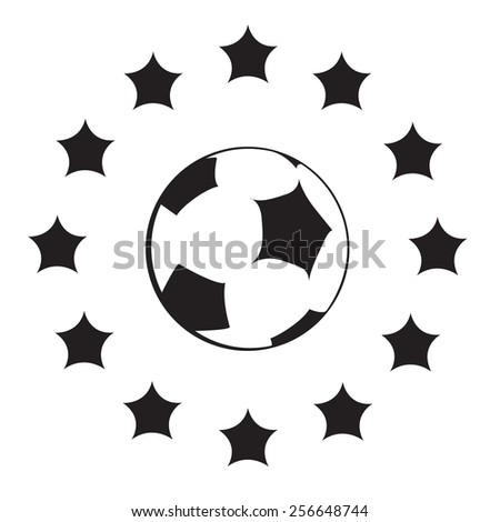 Black-and-white logo with EU symbols and football ball. Vector silhouette - stock vector