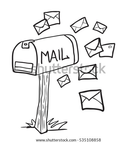 black and white mailbox with letters cartoon illustration