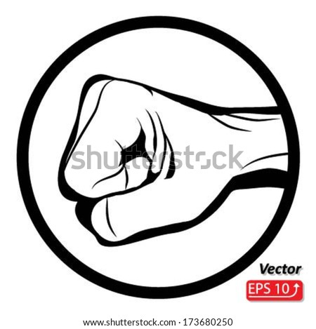 Black and white Man hand sign Hand with clenched a fist , isolated on white background vector - stock vector