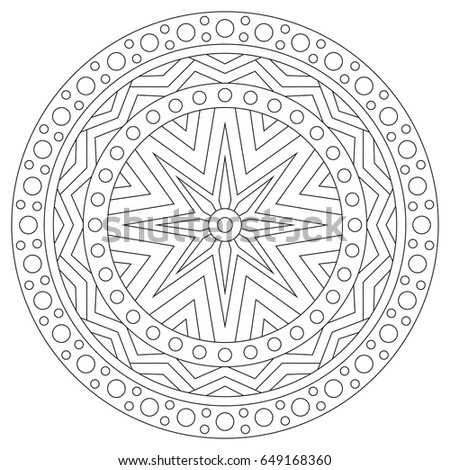 Black And White Mandala Coloring Page For Adults Circular Vintage Ethnic Ornament