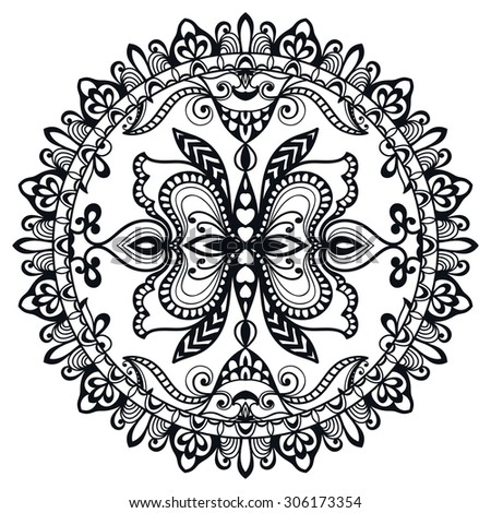 Black and white Mandala, decorative round tribal ethnic ornament, vector islamic arabic indian pattern.