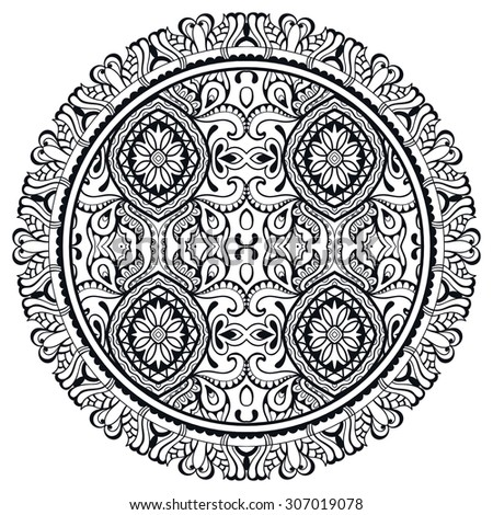 Black and white Mandala round ornament, tribal ethnic pattern, Arabic Indian motif, isolated decorative element for card design, t-shirt print. Vector fashion illustration, hand drawn background - stock vector