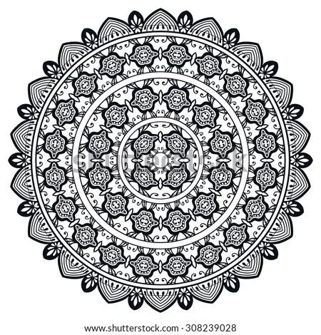 Black and white Mandala round ornament tribal ethnic pattern, islamic arabic indian motif, decorative element for card design, t-shirt print. Vector fashion illustration, hand drawn background. - stock vector