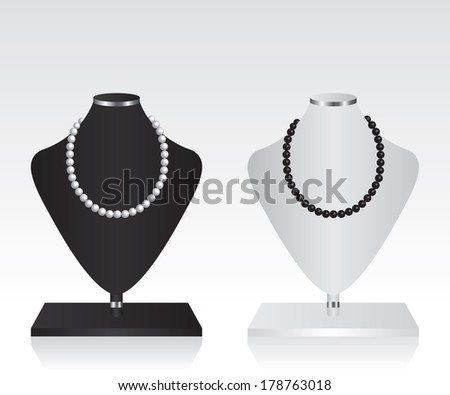 Black and white mannequin jewelry stand - stock vector