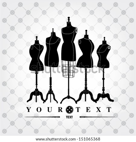 black and white mannequins - stock vector