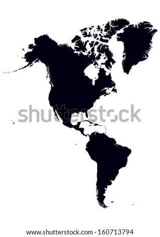 black and white map of North and South America - stock vector